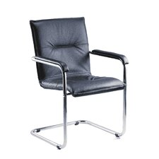 Envoy Leather Cantilever Reception Arm Chair