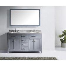 Templeton 60 Double Bathroom Vanity Set with Carrara White Stone Top and Mirror by Latitude Run