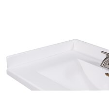 "22"" X 3"" Left Hand Side Splash for Wave Style Bathroom Vanity Top in Solid White"