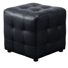 Aidan Bonded Leather Tufted Cube Accent Ottoman by Wade Logan
