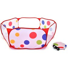 Hexagon Polka Dot Childrens Twist Playpen with Carry Tote and Safety Meshing for Child Play Tent