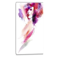 Woman with Colors Digital Portrait Graphic Art on Wrapped Canvas