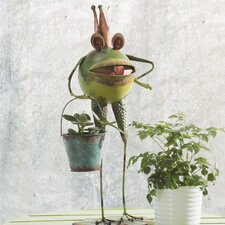 Whimsical Bucket Frog Garden Statue