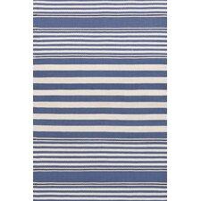Rugby Stripe Hand Woven Blue Indoor/Outdoor Area Rug