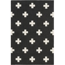 Hilda Monica Hand-Crafted Black/White Area Rug