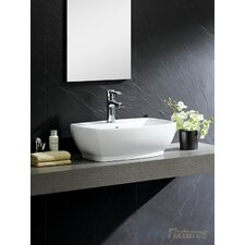 Modern Vitreous Vessel Bathroom Sink with Overflow by Fine Fixtures