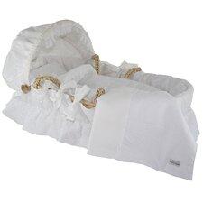 White Eyelet Moses Basket Bedding Set