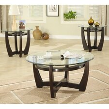 High West 3 Piece Coffee Table with Glass Top Set