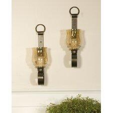 Reitman Iron and Glass Small Wall Sconces (Set of 2) (Set of 2)