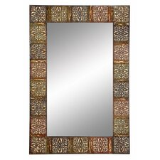 embossed metal frame wall mirror