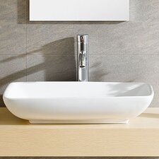 Modern Vitreous Rectangle Vessel Bathroom Sink by Fine Fixtures