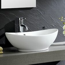 Modern Vitreous Oval Vessel Bathroom Sink with Overflow