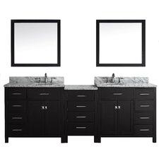"Stoughton 92.8"" Double Bathroom Vanity Set with Carrara White Top and Mirror"