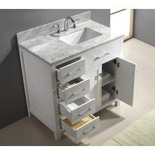 Caroline Parkway 37 Single Bathroom Vanity Set with Carrara White Top and Mirror by Virtu