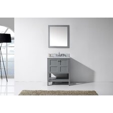 "Winterfell 30"" Single Bathroom Vanity Set with White Marble Top and Mirror"
