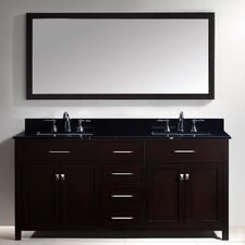 Templeton 72 Double Bathroom Vanity Set with Black Galaxy Top and Mirror by Latitude Run