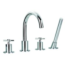 Prima Double Handle Deck Mount Bathtub Faucet with Shower Wand