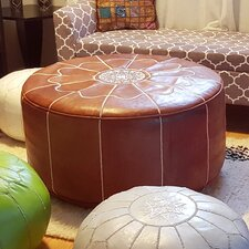 Giant Moroccan Leather Pouf Ottoman by Ikram Design