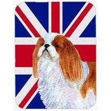 Union Jack English Toy Spaniel with English British Flag Glass Cutting Board