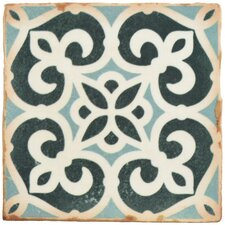 """Arquivo 4.875"""" X 4.875"""" Ceramic Patterned/Field Tile in Green/White"""