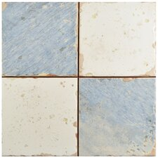 """Artisanal 13"""" x 13"""" Ceramic Field Tile in Damero Azul"""