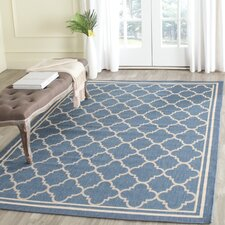 Courtyard Indoor/Outdoor Blue/Beige Area Rug