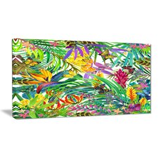Tropical Leaves and Flowers Graphic Art on Wrapped Canvas