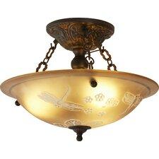 "Antioch 16"" 3-Light Semi Flush Mount in Gold"