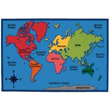 Value Plus World Map Area Rug