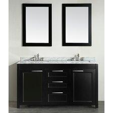 60 Double Bathroom Vanity Set with Mirror by Bosconi