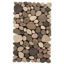 Pebbles Pebbles Hand-Tufted Dark Brown Area Rug