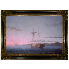 Lumber Schooners at Evening on Penobscot Bay' by Fitz Hugh Lane Framed Painting Print  by Historic Art Gallery