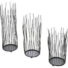 Alva 3 Piece Glass and Metal Votive Set