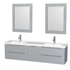 Murano 72 Double Gray Bathroom Vanity Set with Mirror by Wyndham Collection