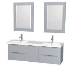 Murano 60 Double Gray Bathroom Vanity Set with Mirror by Wyndham Collection