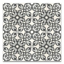 """Agadir 8"""" x 8"""" Cement Patterned/Field Tile in White/Gray/Black"""