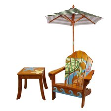 Winland Sea Turtle Outdoor Wood Table & Chair Set in Natural by Teamson Kids