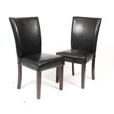 Black Leatherette Parson Chair (Set of 2)