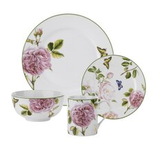 Roses 16 Piece Dinnerware Set, Service for 4