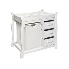 Deluxe Sleigh Style White Hamper Changing Table with Fabric Pad Cover