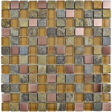 """Abbey 0.875"""" x 0.875"""" Glass/Stone/Metal Mosaic Tile in Alloy Copper"""