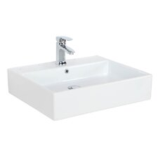 "Simple Ceramic 23.6"" Wall mount Bathroom Sink with Overflow"