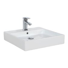 Simple Ceramic Square Vessel Bathroom Sink with Overflow