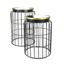 Metal with Mirror Top End Table (Set of 2) by Sagebrook Home