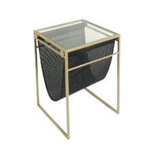 Metal & Glass & Vinyl End Table