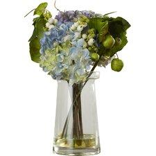 Hydrangea with Glass Vase Arrangement