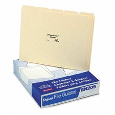Top Tab File Guides, Blank, 1/5 Tab, 18 Point Manila, Letter, 100/Box