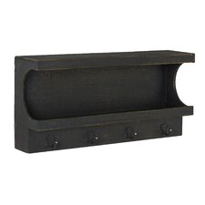 Wall Mount Storage Cubby Shelf with Hanging Hooks by Household Essentials