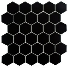 "Retro Hexagon 2"" x 2"" Porcelain Mosaic Tile in Matte Black"