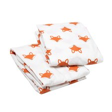 Playful Fox Print Fitted Crib Sheets (Set of 2)